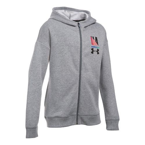 Under Armour Girls Favorite Fleece Full Zip Half-Zips & Hoodies Technical Tops - True Grey ...