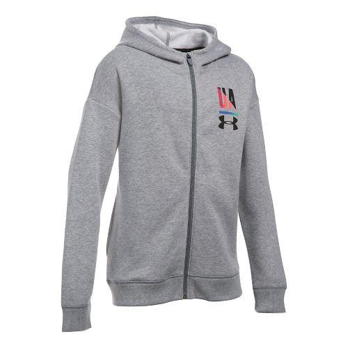 Under Armour Girls Favorite Fleece Full Zip Half-Zips & Hoodies Technical Tops - True Grey ...