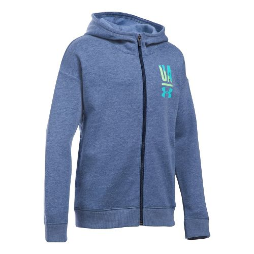 Under Armour Girls Favorite Fleece Full Zip Half-Zips & Hoodies Technical Tops - Navy Light ...
