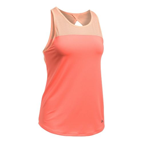 Womens Under Armour Fly By Fitted Sleeveless & Tank Tops Technical Tops - Orange/Peach XS ...