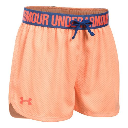 Under Armour Girls Mesh Play Up Unlined Shorts - Peach/Periwinkle YL