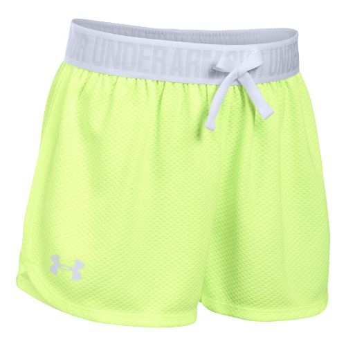 Under Armour Girls Mesh Play Up Unlined Shorts - Pale Moonlight/White YL