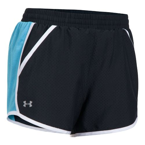 Womens Under Armour Fly By Perforated Unlined Shorts - Black/Blues M