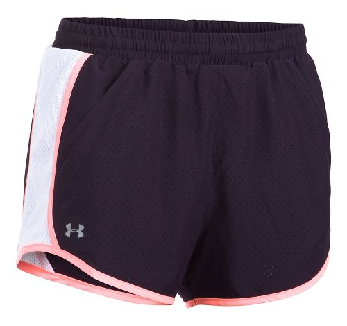 Womens Under Armour Fly By Perforated Unlined Shorts - Purple/White M