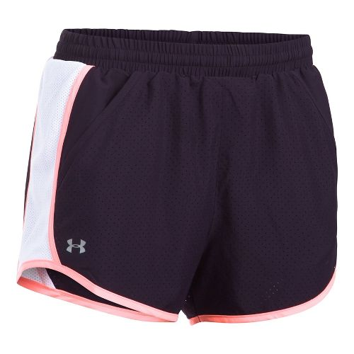 Womens Under Armour Fly By Perforated Unlined Shorts - Purple/White XL