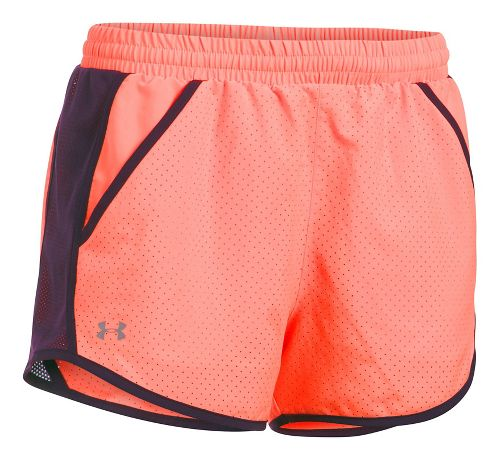 Womens Under Armour Fly By Perforated Unlined Shorts - Orange/Purple XL