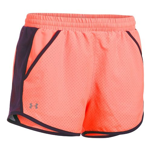 Womens Under Armour Fly By Perforated Unlined Shorts - Orange/Purple S
