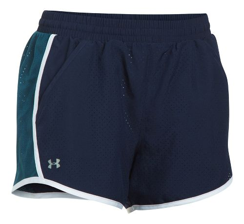 Womens Under Armour Fly By Perforated Unlined Shorts - Midnight Navy L