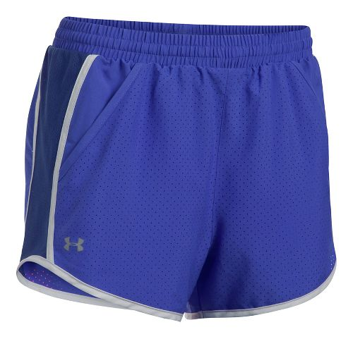 Womens Under Armour Fly By Perforated Unlined Shorts - Purple/Europa S