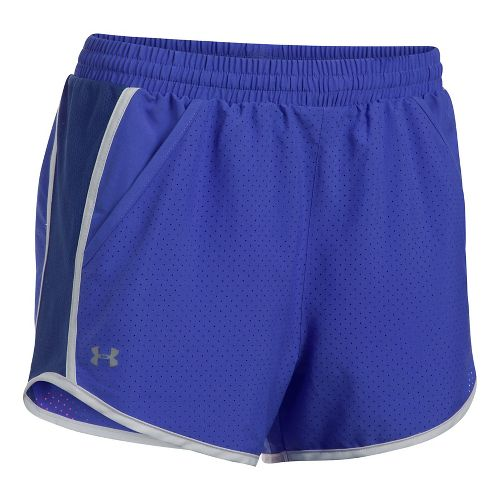 Womens Under Armour Fly By Perforated Unlined Shorts - Purple/Europa XL