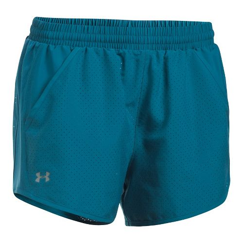 Womens Under Armour Fly By Perforated Unlined Shorts - Bayou Blue S