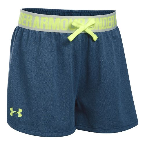 Under Armour Girls Play Up Unlined Shorts - Blackout Navy/Grey YL