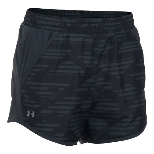 Womens Under Armour Fly By Printed Unlined Shorts - Black/Anthracite L