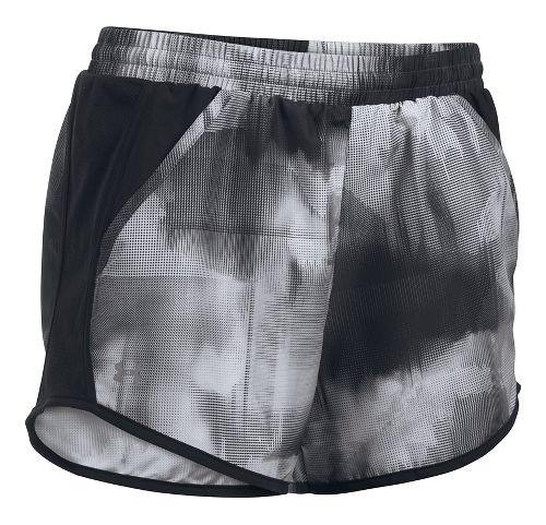 Womens Under Armour Fly By Printed Unlined Shorts - Black/Grey M
