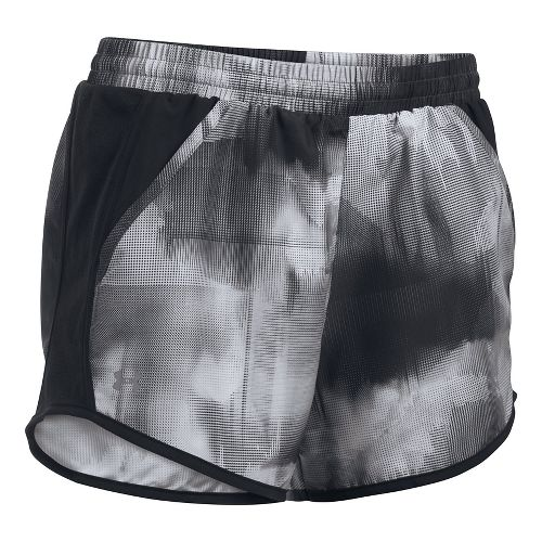 Womens Under Armour Fly By Printed Unlined Shorts - Black/Grey L