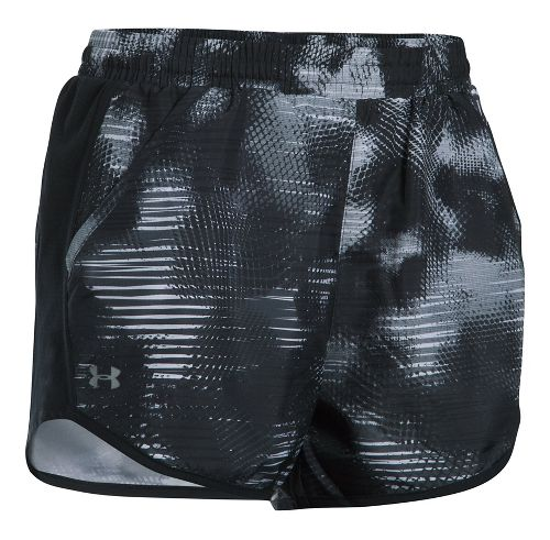 Womens Under Armour Fly By Printed Unlined Shorts - Black/Black/Grey L
