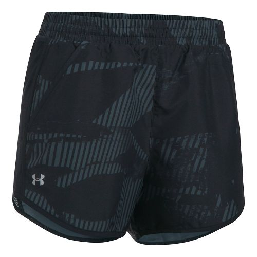 Womens Under Armour Fly By Printed Unlined Shorts - Stealth Grey S