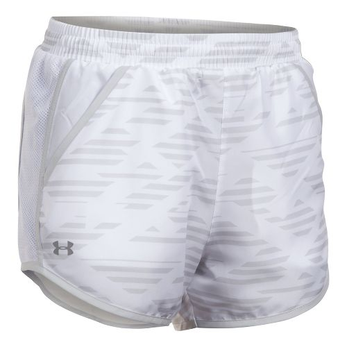 Womens Under Armour Fly By Printed Unlined Shorts - White/Grey XS