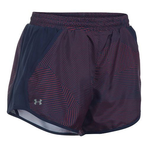Womens Under Armour Fly By Printed Unlined Shorts - Navy/Pomegranate XS