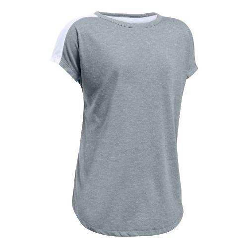 Under Armour Girls Threadborne Play Up Tee Short Sleeve Technical Tops - Steel/White YXL