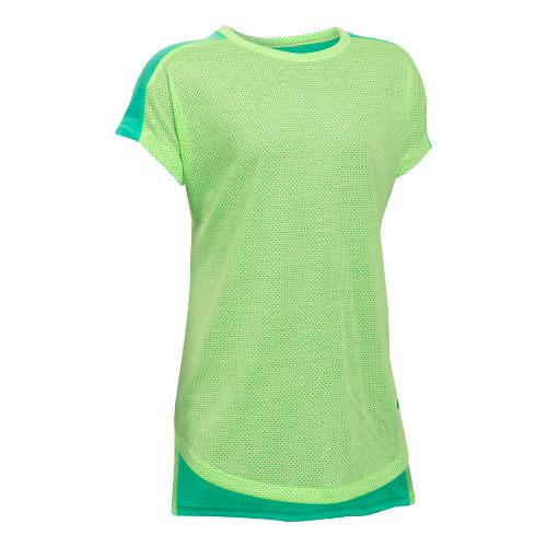 Under Armour Girls Threadborne Play Up Tee Short Sleeve Technical Tops - Absinthe Green YL ...