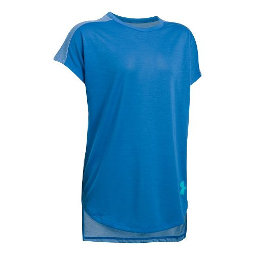 Under Armour Girls Threadborne Play Up Tee Short Sleeve Technical Tops - Mediterranean YXS