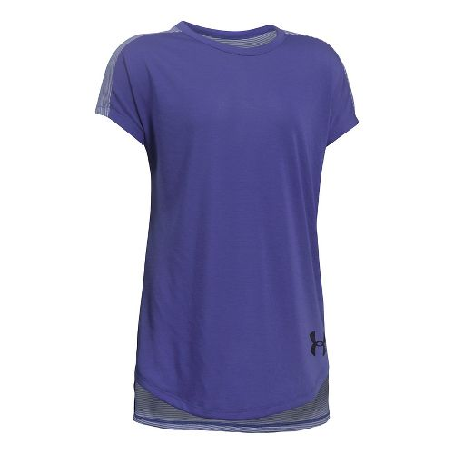 Under Armour Threadborne Play Up Tee Short Sleeve Technical Tops - Purple/Blue YM