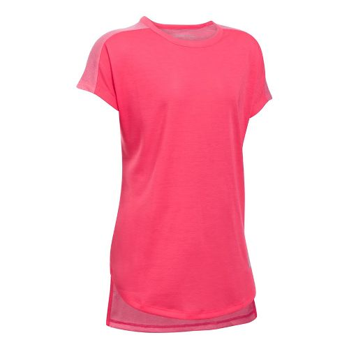 Under Armour Girls Threadborne Play Up Tee Short Sleeve Technical Tops - Gala YXL