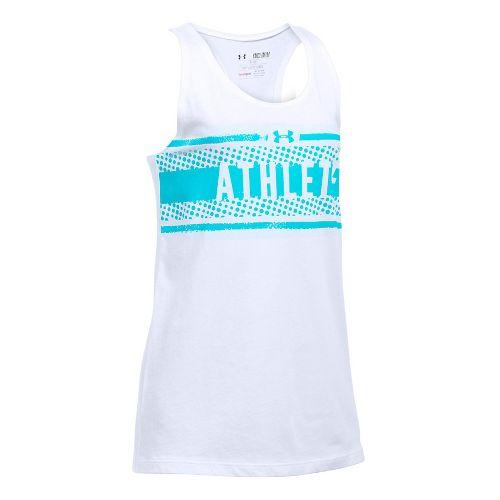 Under Armour Girls Athlete Studio Sleeveless & Tank Tops Technical Tops - White/Blue YXL