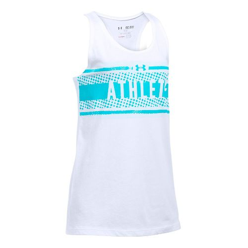 Under Armour Girls Athlete Studio Sleeveless & Tank Tops Technical Tops - White/Blue YXS