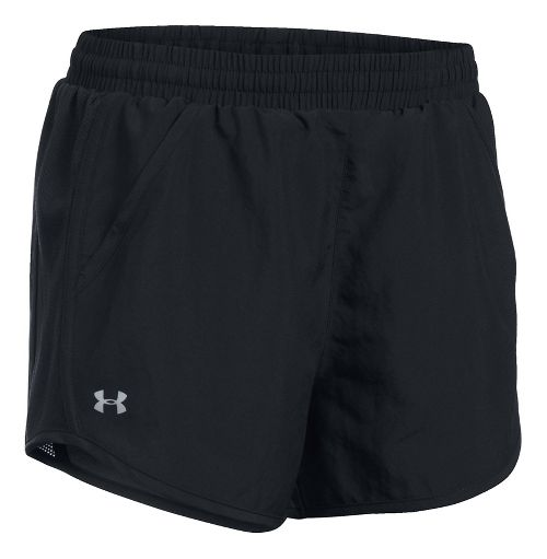 Womens Under Armour Fly By Unlined Shorts - Black/Black/Black XS