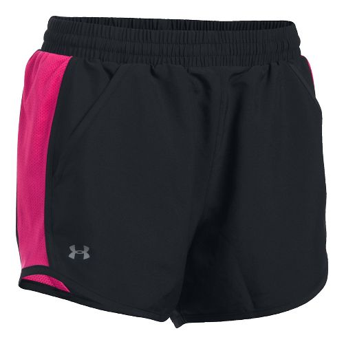 Womens Under Armour Fly By Unlined Shorts - Black/Pink M