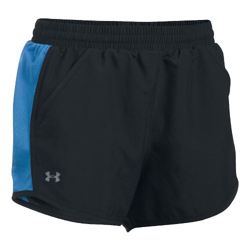 Womens Under Armour Fly By Unlined Shorts - Black/Mediterranean M