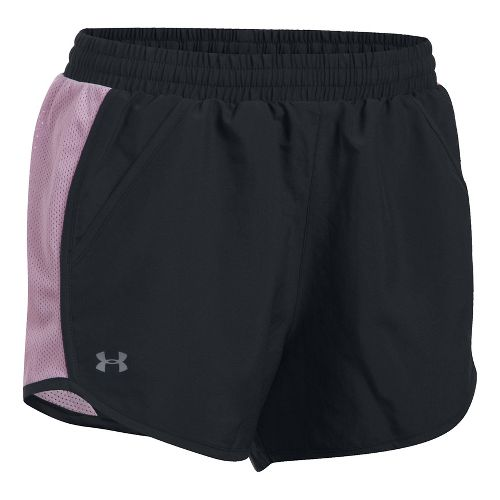 Womens Under Armour Fly By Unlined Shorts - Black/Orchid S