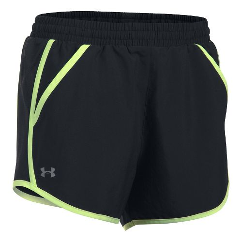 Womens Under Armour Fly By Unlined Shorts - Black/Black XL