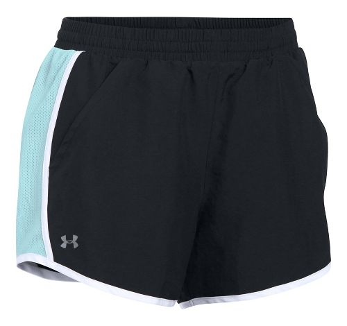 Womens Under Armour Fly By Unlined Shorts - Black/Blue Infinity XL