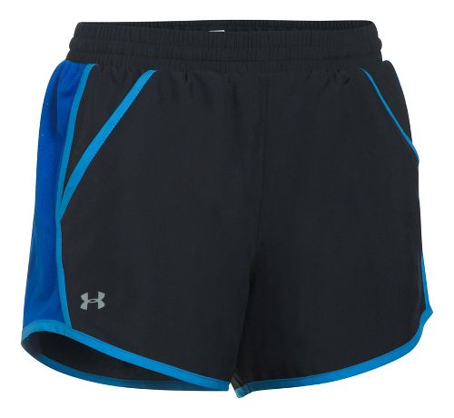 Womens Under Armour Fly By Unlined Shorts - Black/Lapis Blue L