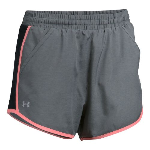 Womens Under Armour Fly By Unlined Shorts - Carbon Heather L