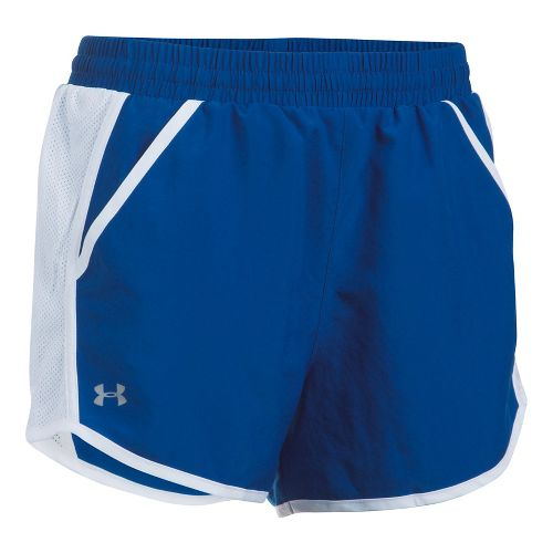 Womens Under Armour Fly By Unlined Shorts - Royal/White XL