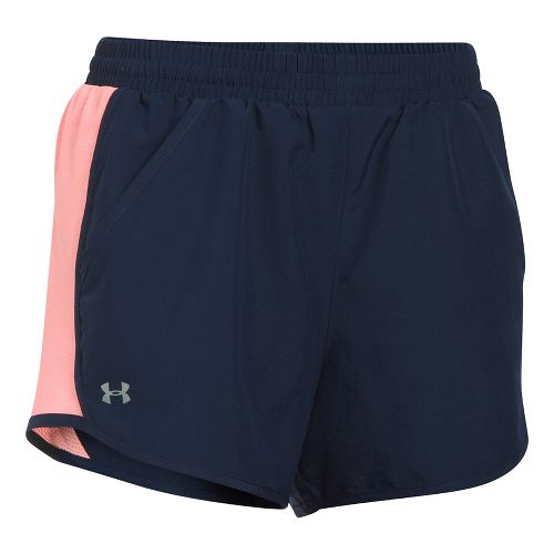 Womens Under Armour Fly By Unlined Shorts - Midnight Navy/Coral M