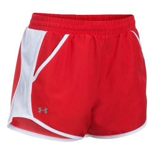 Womens Under Armour Fly By Unlined Shorts - Red/White L