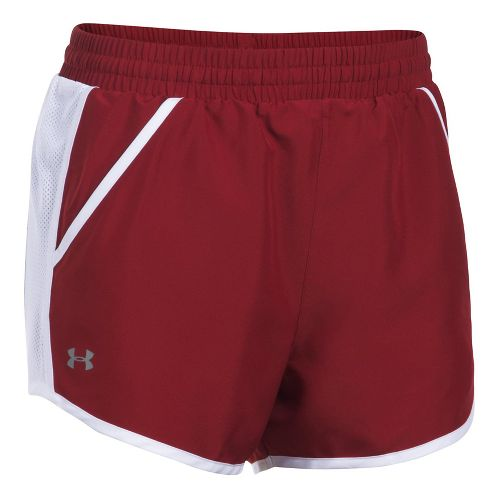 Womens Under Armour Fly By Unlined Shorts - Cardinal/White L