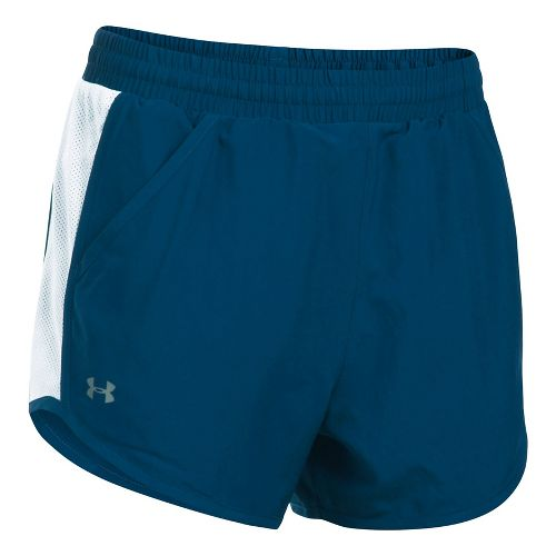Womens Under Armour Fly By Unlined Shorts - Black/Orchid XL