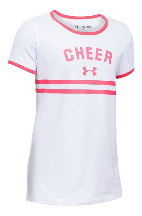 Under Armour Girls Cheer Ringer Tee Short Sleeve Technical Tops - White YXL