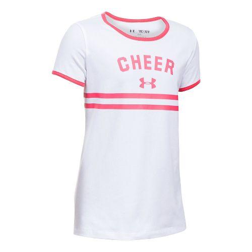Under Armour Girls Cheer Ringer Tee Short Sleeve Technical Tops - White YL
