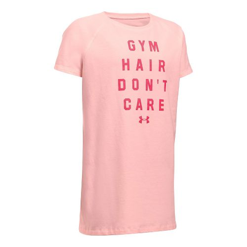 Under Armour Girls Gym Hair Don't Care Tee Short Sleeve Technical Tops - Ballet Pink/Gala ...