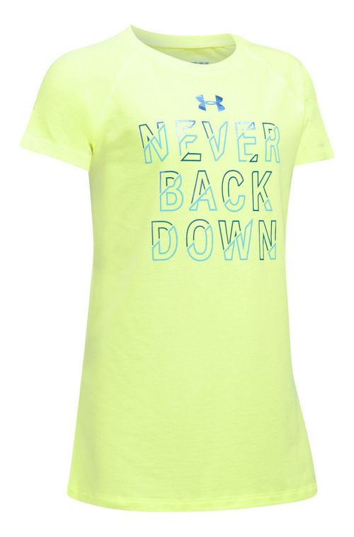 Under Armour Girls Never Back Down Tee Short Sleeve Technical Tops - Pale Moonlight/Blue YM