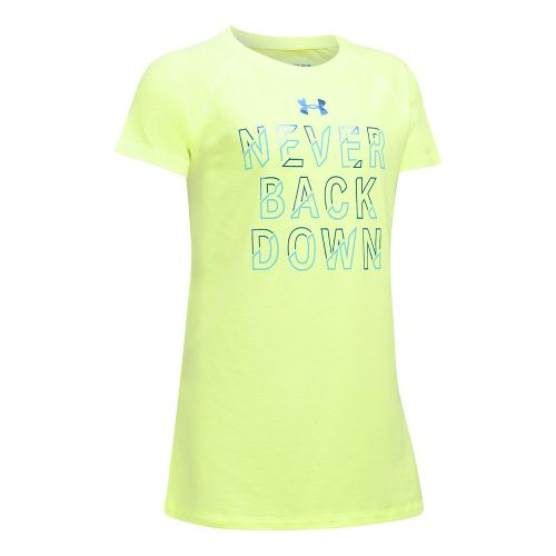 Under Armour Girls Never Back Down Tee Short Sleeve Technical Tops - Pale Moonlight/Blue YXL ...