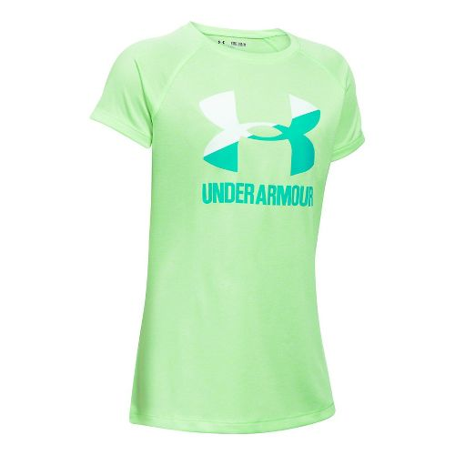 Under Armour Girls Novelty Big Logo Tee Short Sleeve Technical Tops - Ballet Pink/White YL