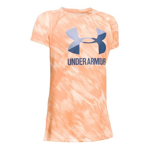 Under Armour Girls Novelty Big Logo Tee Short Sleeve Technical Tops - Peach/Lavender YXS